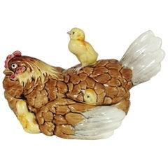 19th Rare Majolica Hen & Chicks Tureen George Dreyfus
