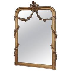 French Gold Gilt Decorative Floral Swag Wall Mirror, Circa 1820
