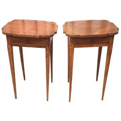 Primitive Pair of 19th Century Grain Painted Side Tables Nightstands