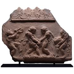 Ancient Roman Terracotta Relief of Satyrs Making Wine, 50 BC