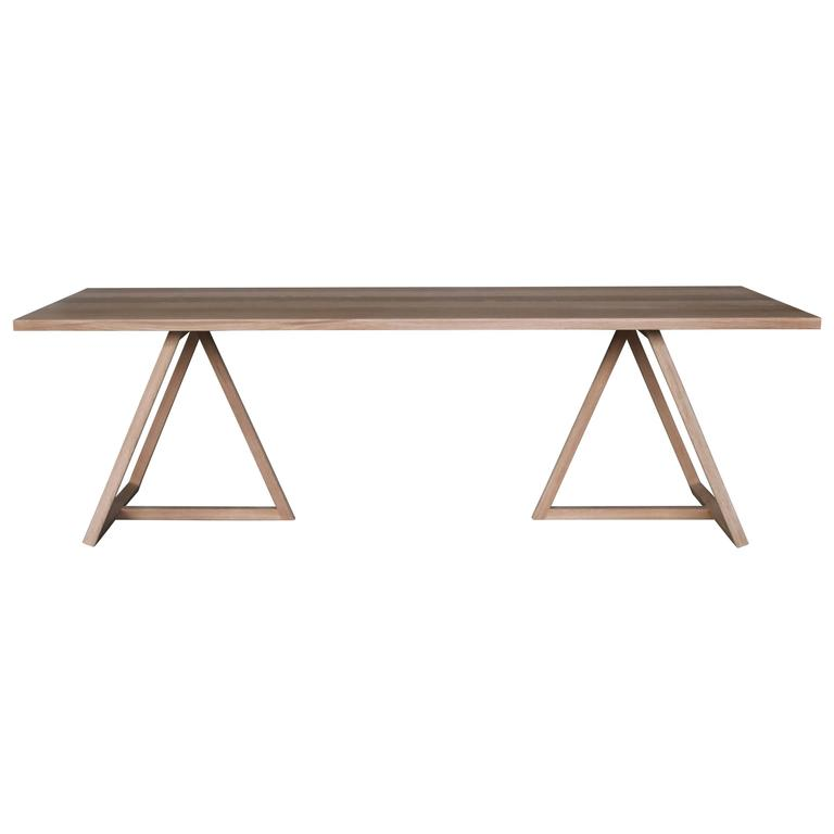 Thales Dining Table, Solid White Oak Geometric Base  For Sale