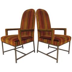 Pair of Mid-Century Modern High Back Armchairs