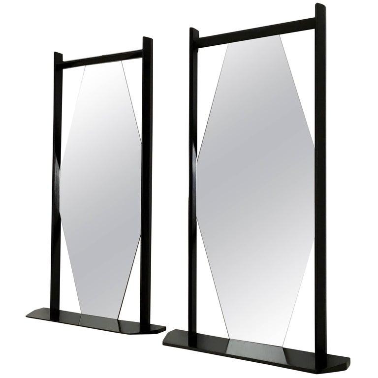 Pair of Midcentury Rectangular Black Ebonized Wood Wall Mirrors, Italy, 1960s