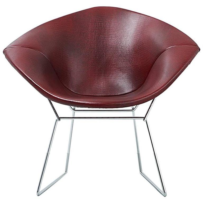 Mid Century Modern Knoll Diamond Bertoia Chair Reupholstered In Faux  Leather 1