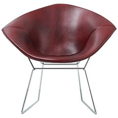 Mid-Century Modern Knoll Diamond Bertoia Chair Reupholstered in Faux Leather