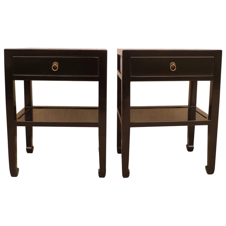 Pair of Fine Black Lacquer End Tables For Sale
