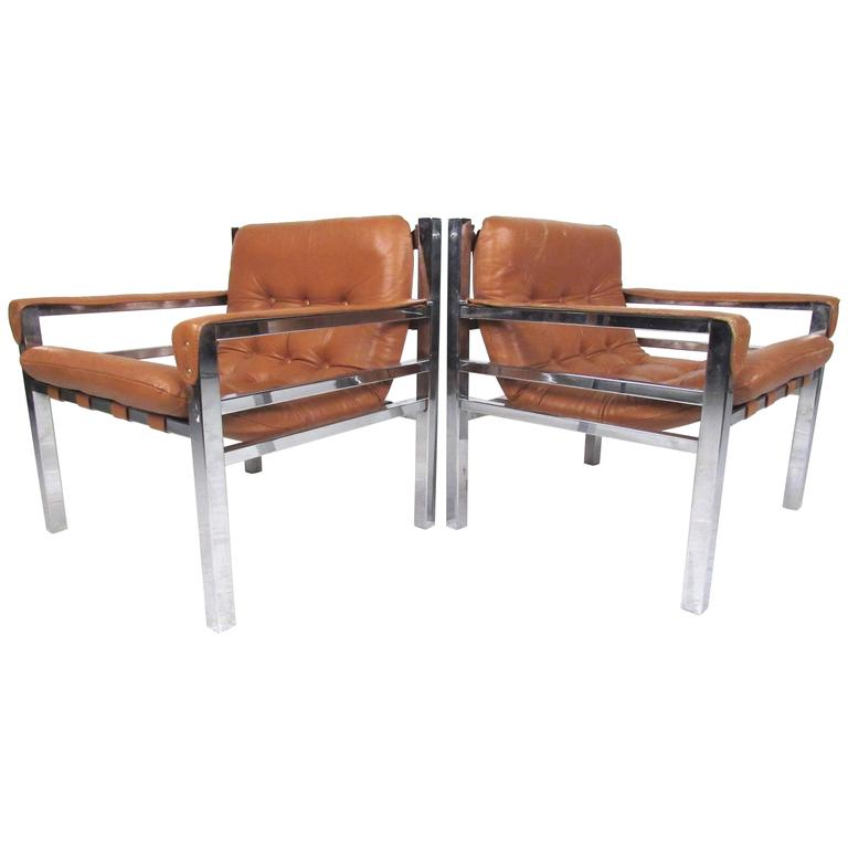 Pair of Mid-Century Modern Leather and Chrome Lounge Chairs