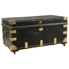 Campaign Military Leather Trunk, circa 19th Century