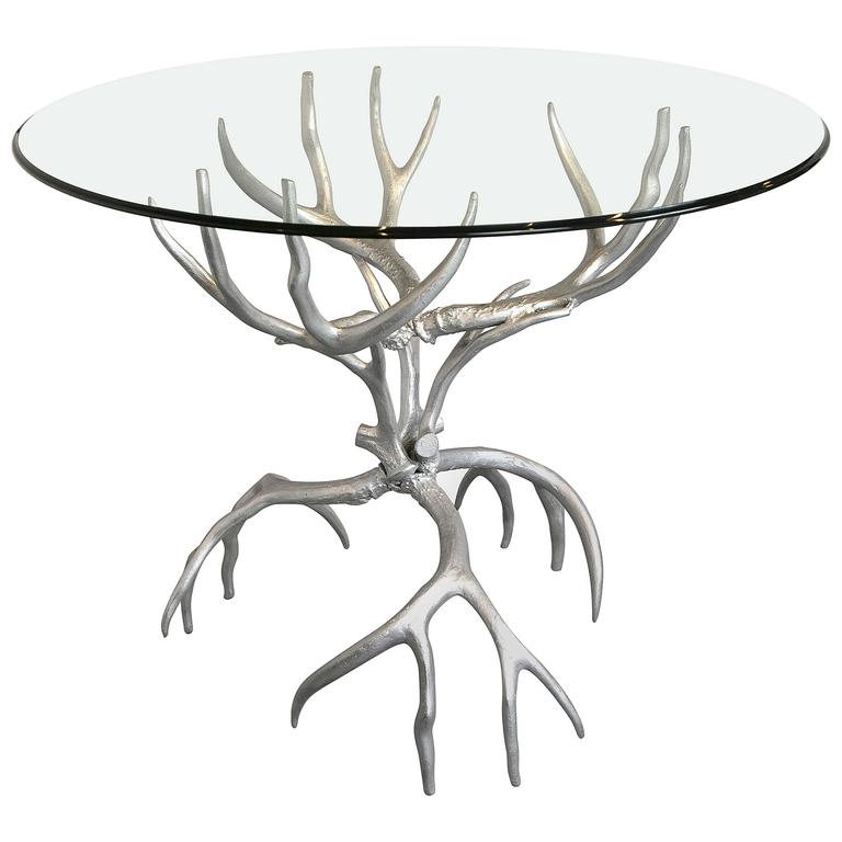 Superbe Arthur Court Aluminum And Glass Antler Table For Sale