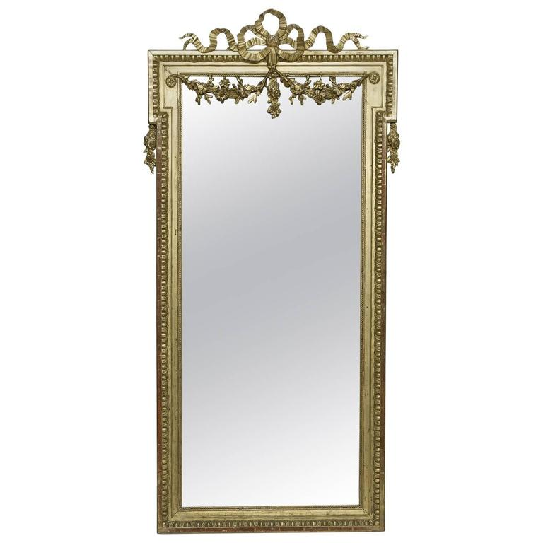 19th century louis xvi narrow gold leaf mirror at 1stdibs for Narrow mirror