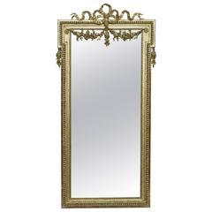 19th Century Louis XVI Narrow Gold Leaf Mirror