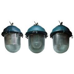 Antique Textured Glass Lights, 'Set of Three'