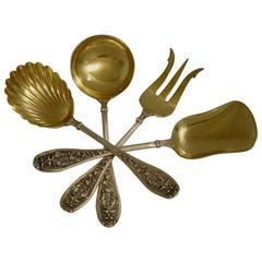 Henin Fabulous French All Sterling Silver 18k Gold Dessert Set Mascarons