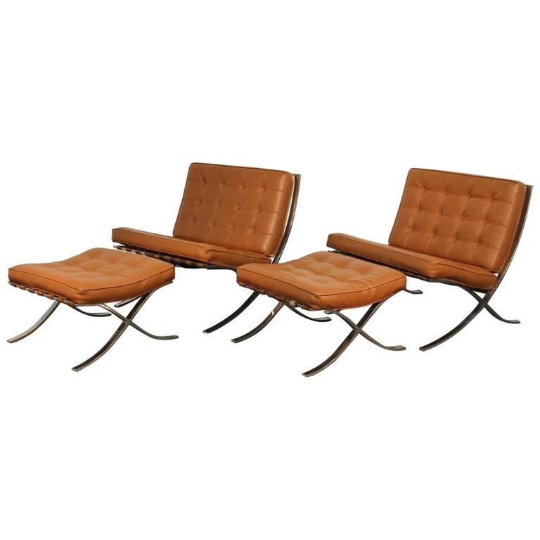 Pair of Mies Van De Rohe Barcelona Chairs with Matching Ottomans for Knoll 1