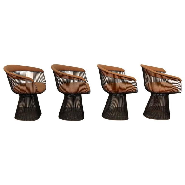 Set of Four Original Bronze Warren Platner Side Chairs For Sale