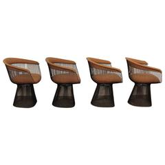 Set of Four Original Bronze Warren Platner Side Chairs
