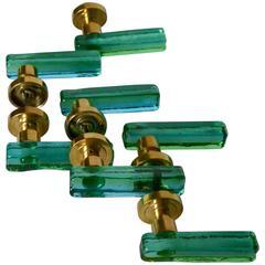 Set of Seven Murano Green and Blue Glass Door Handles