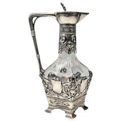 WMF Germany Art Nouveau Pitcher Carafe Jug Silver Plated, circa 1900