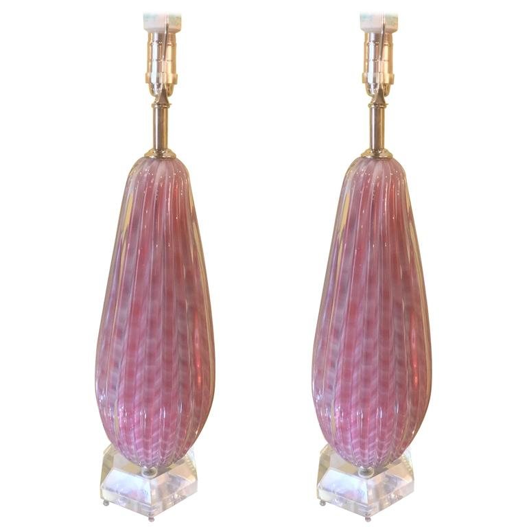 Pair of Pink and White Murano Glass Table Lamps
