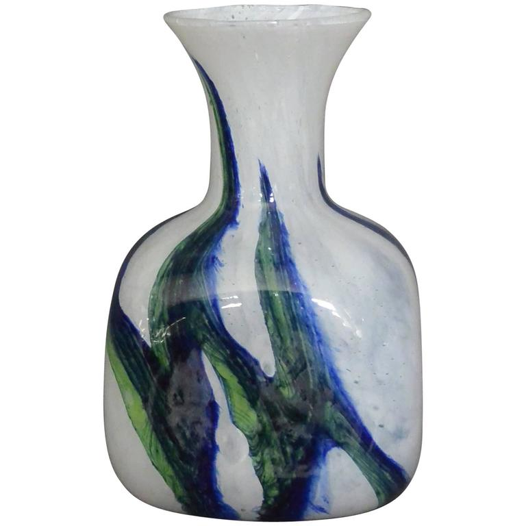 Vintage Murano Green White and Blue Glass Vase