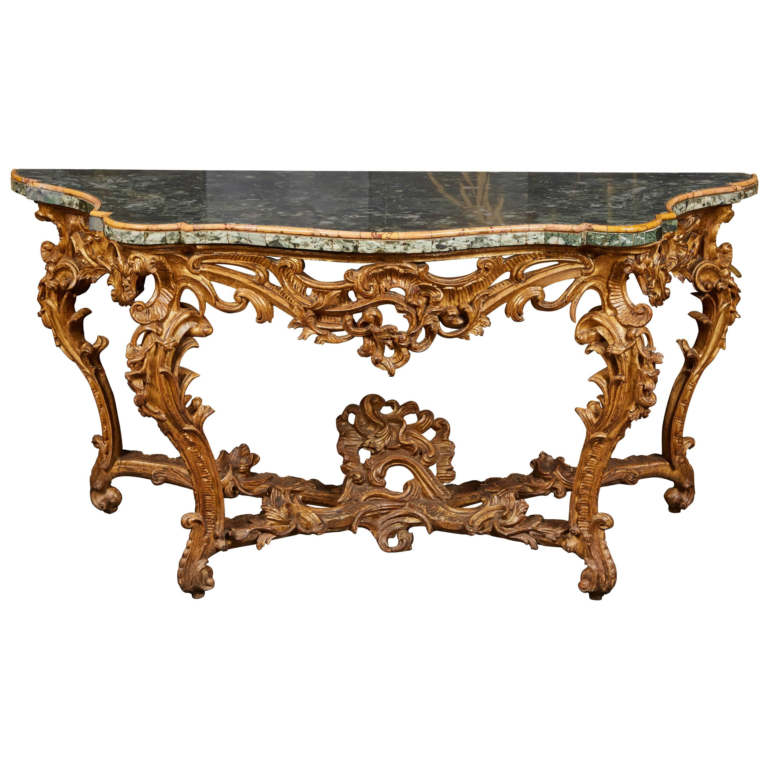 Large Mid-18th Century Italian Rococo Giltwood Green Marble-Top Console