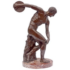 """Large Bronze Sculpture """"The Discus Thrower"""""""