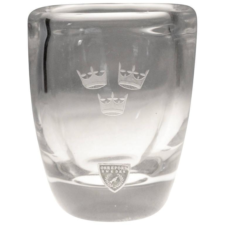 Vintage Orrefors Swedish American Line Crystal Vase For Sale At 1stdibs