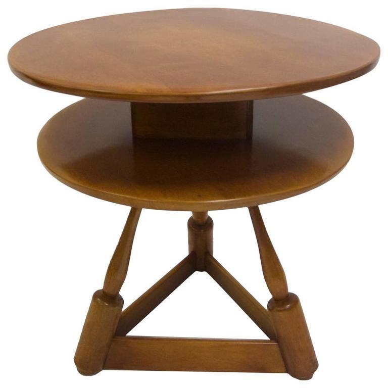 Wonderful Hard Rock Maple Lamp / Side Table By Herman De Vries For Cushman Furniture 1