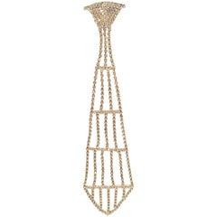 1970s Crystal Rhinestone Necktie Brooch
