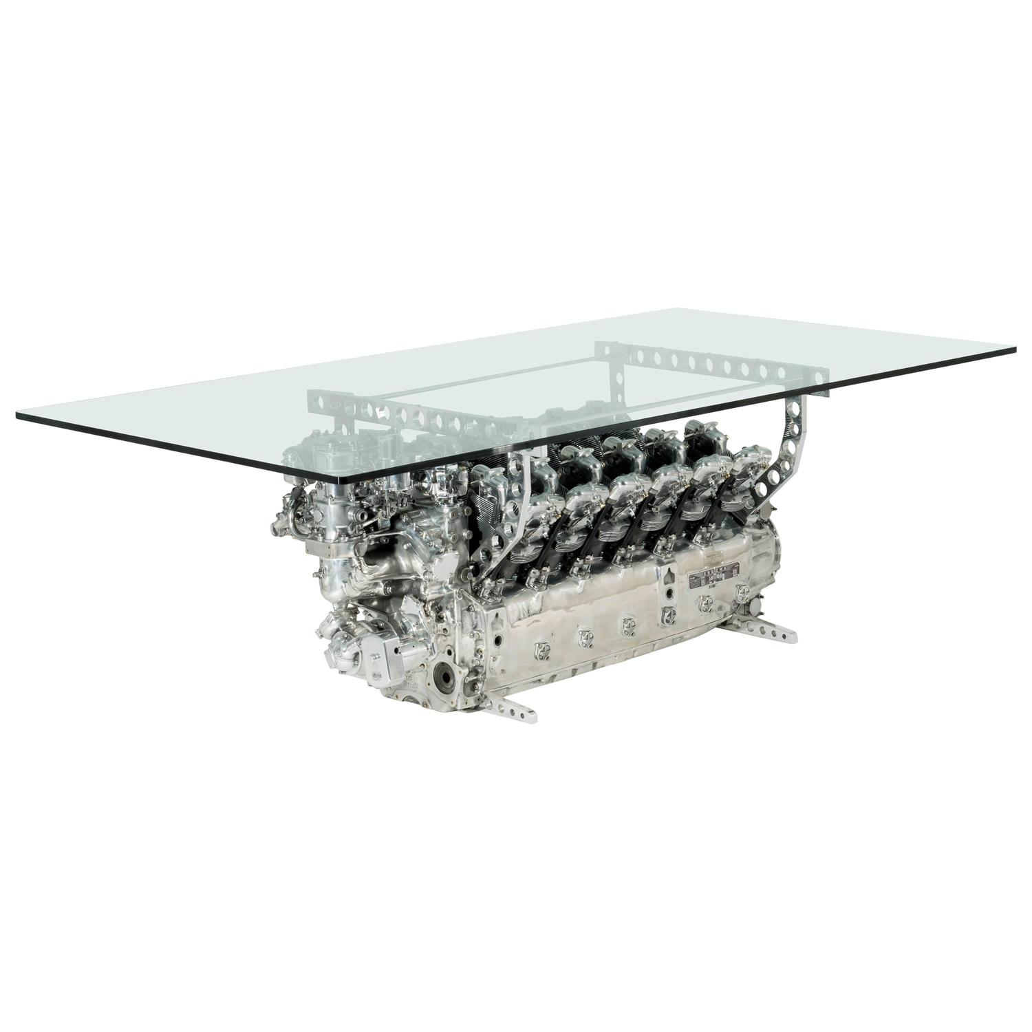 Aviation Furniture Dining Table from Flamant Engine by Jean Pierre