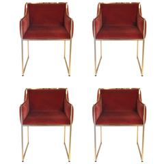 Willy Rizzo Set of Four Armchairs, Brass, circa 1970, Italy