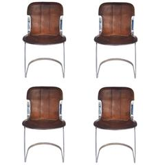 Maison Jansen, Set of Four Chairs, Metal and Leather, circa 1970, France