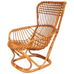 Rattan Lounge Chair by Tito Agnoli, Italy, circa 1960