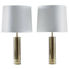 Pair of Table Lamps in Brass by Bergboms