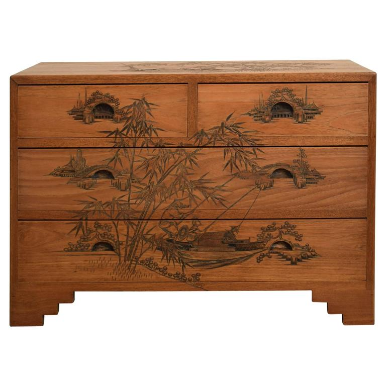 Carved Colonial Chest of Drawers from the 1910s For Sale