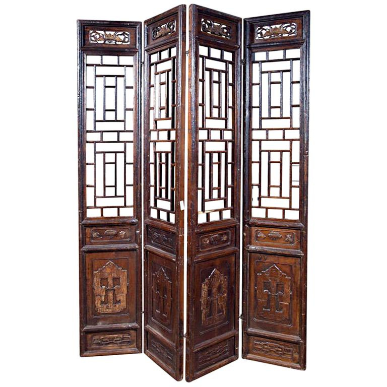 Chinese Carved Screen, 19th Century