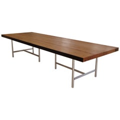 Soho Dining Table in Reclaimed Chestnut, Brushed Stainless Steel Base