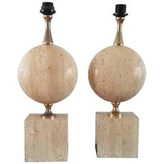 Pair of Large Solid Travertine Table Lamp by Maison Barbier, France, 1970s