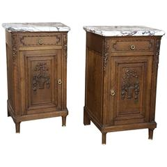 Pair of 19th Century Hand-Carved French Louis XVI Marble Top Nightstands