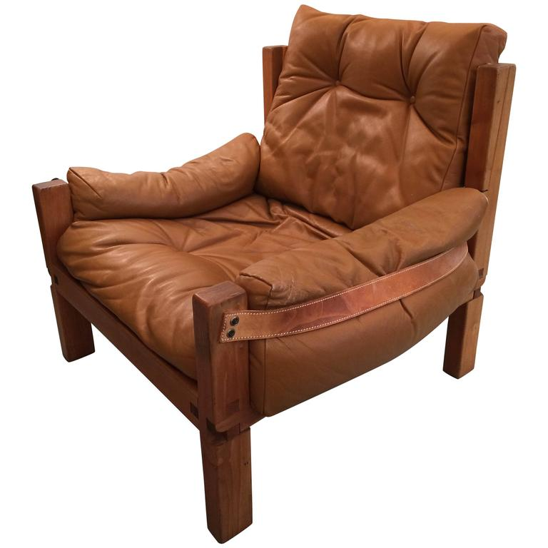 Vintage Solid Elm and Cognac Leather Armchair by Pierre Chapo