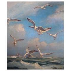 Emile Albert Gruppe Oil on Canvas, Gloucester Seagulls
