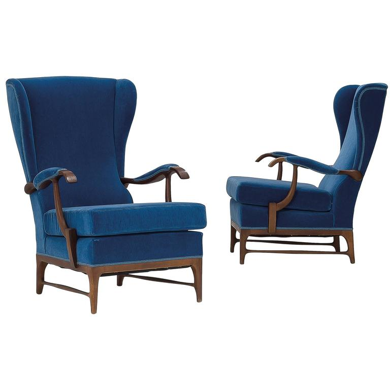 Pair Of High Back Lounge Chairs By Paolo Buffa 1960 Italian BLUE LEATHER Fo
