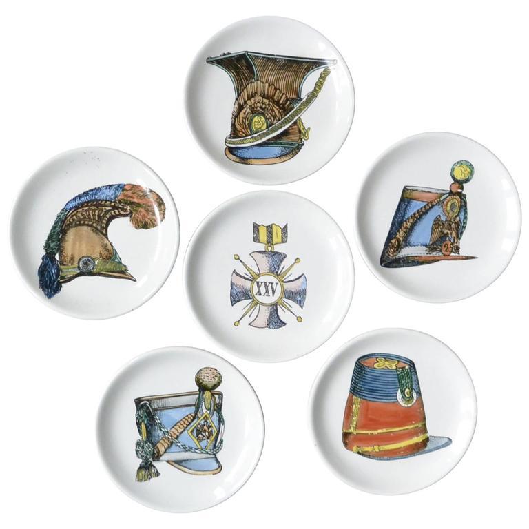 Set of Six Vintage Italian Porcelain Coasters