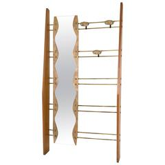Italian Cherry, Brass and Mirror Coat Rack, 1950s