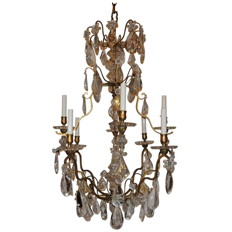 Wonderful Signed Baccarat French Dore Bronze Eight-Light Crystal Chandelier