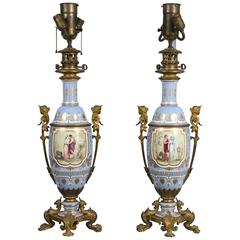 Pair of French Victorian Bronze Mounted Porcelain Lamps