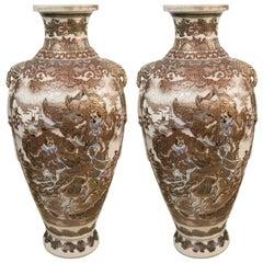 Pair of Antique Satsuma Vases