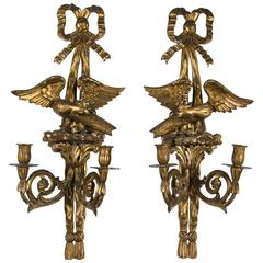 Pair of Giltwood Two Light Sconces