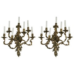 Pair of Lacquered Bronze Seven-Light Sconces