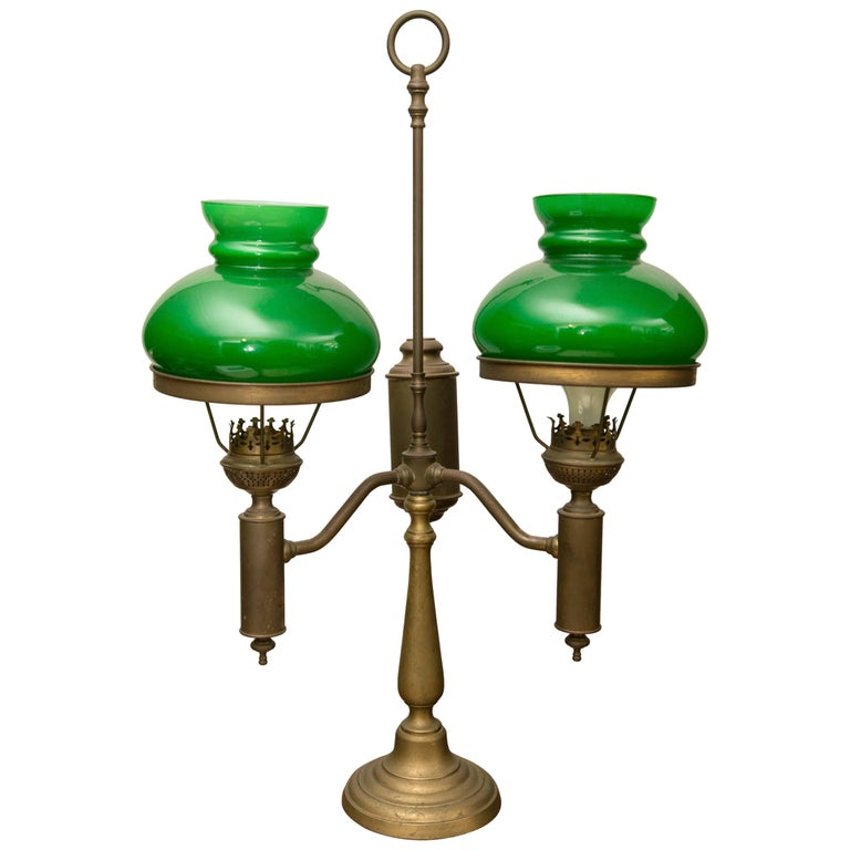 Green Case Glass Double Student Lamp For Sale